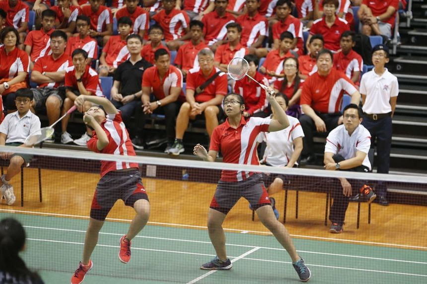 Rennie Yow Jia Yi (left) and Joey Koh Yu Han in action in doubles in the B Division girls doubles for Singapore Sports School, who beat Raffles Girls' School 4-1.