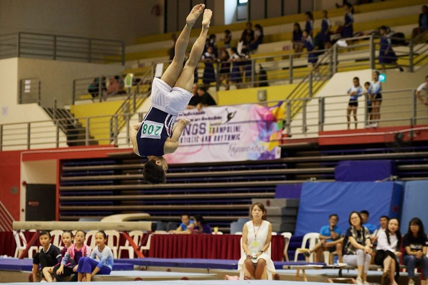 Zhenghua Secondary School's Mikha'il Llya' Grant takes part in the MAG A & B Optional Boys Secondary Floor category. He was second in the all-round competition with 34.832 points.