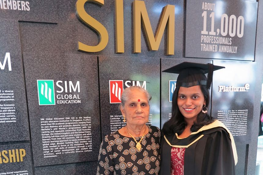 Ms Sharmila Khan, with her mother Govindasamy Sarathambal. She says what private school students lack in academic grades may be made up by other skills.