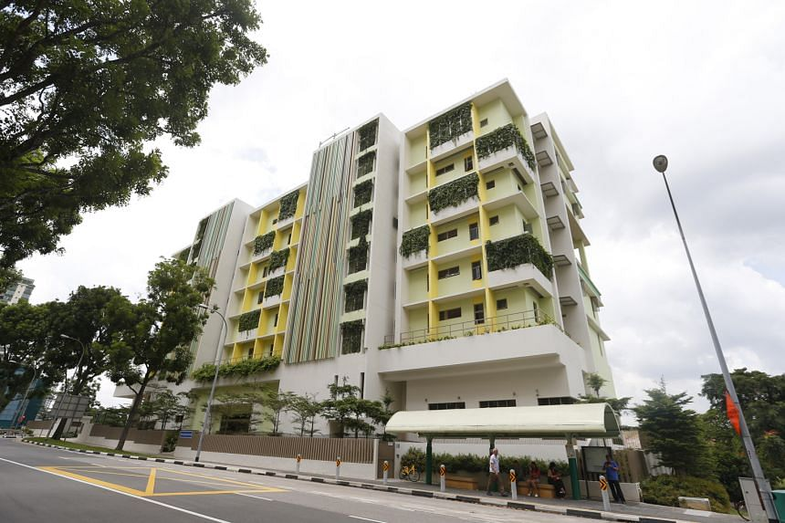 The facade of a nursing home in Yew Tee was repainted last May after a resident who lived nearby complained that it was an eyesore. A project is now under way to come up with designs that can help nursing homes blend with high-density neighbourhoods,