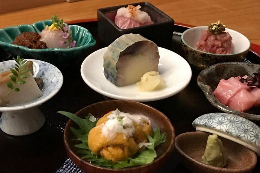 Takayama Japanese Restaurant's appetiser platter.