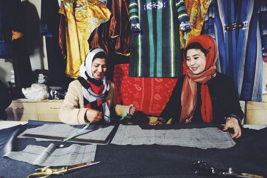 Zarif, a small fashion house based in Kabul, commissions fabric from artisanal weavers and employs locals to create traditional embroidered clothing.