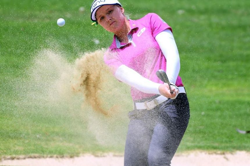 Brooke Henderson hitting a shot out of the bunker on the fourth hole, during the LPGA Tour Lotte Championship in Hawaii on April 13, 2018.
