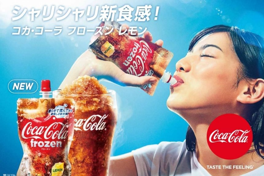 Coca-cola Japan is releasing Lemon Coco-Cola in frozen slushie packs in Japan.