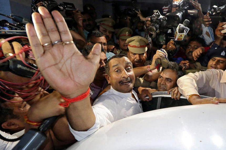 Lawmaker Kuldeep Singh Sengar leaving a court after he was arrested in connection with a rape case, in Lucknow, India, on April 14, 2018.