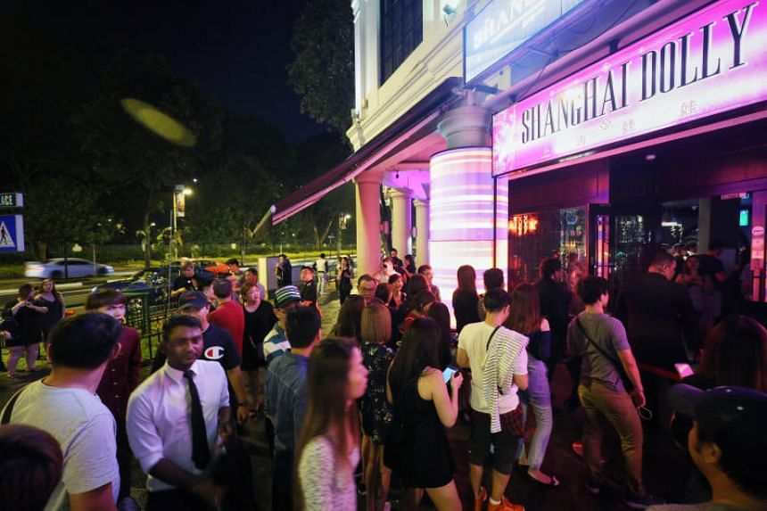 Club-goers queueing up outside Shanghai Dolly on the night of April 14, 2018.