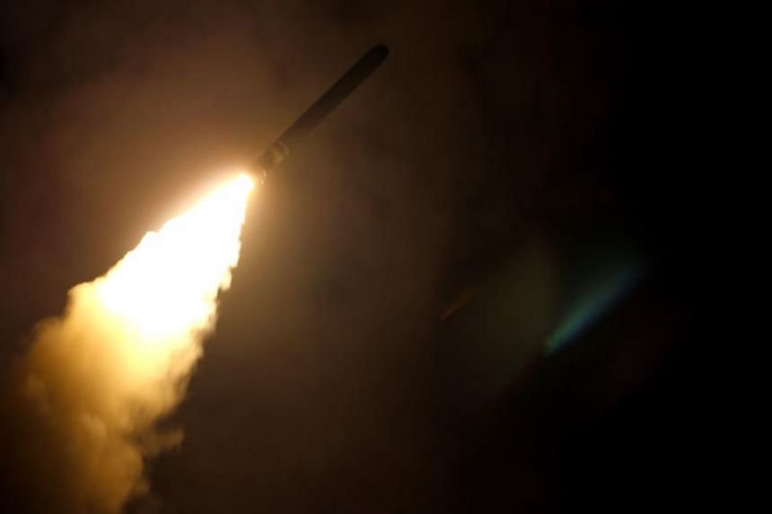 A Tomahawk missile being lauched by the guided-missile cruiser USS Monterey, during an attack on April 14, 2018.