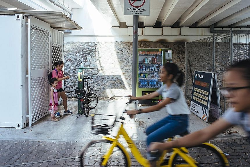 A BikeAid vending machine at the Punggol Waterway Park, located under the Sentul Crescent bridge. Cyclists can buy items such as tyre levers, inner tubes and repair kits, while other park users can buy first-aid kits, ponchos and mosquito patch kits,