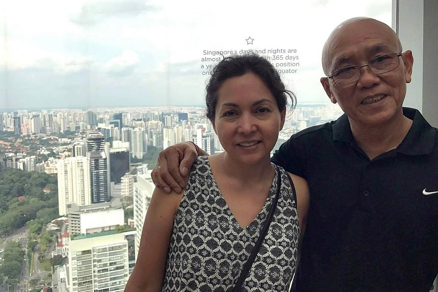 Mr Alfred Chan and wife Diana during a trip to Singapore. Mr Chan manages to visit Singapore once every year or two.