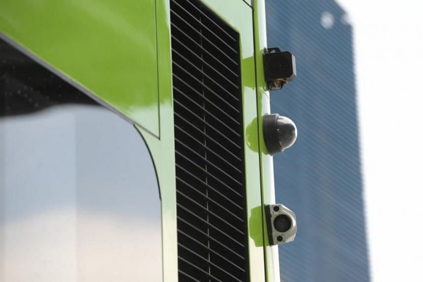 Smart camera sensors mounted on the side of the bus. These will help analyse and detect objects at the front and sides of the vehicles.