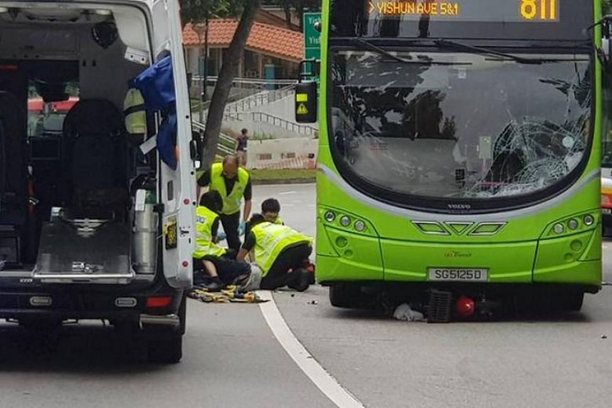 The 86-year-old electric scooter rider was taken conscious to Khoo Teck Puat Hospital after he was involved in an accident in Yishun on April 16, 2018.