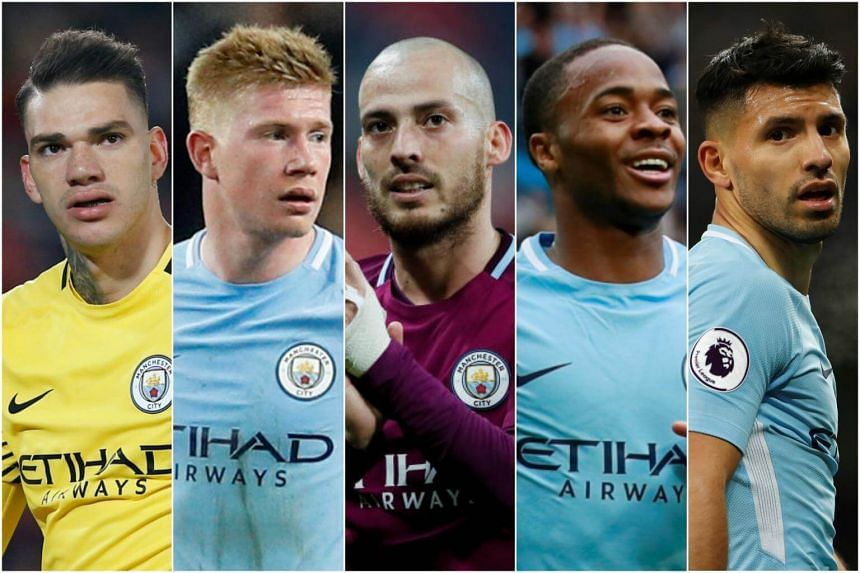 Manchester City players (from left) Ederson, Kevin De Bruyne, David Silva, Raheem Sterling and Sergio Aguero.