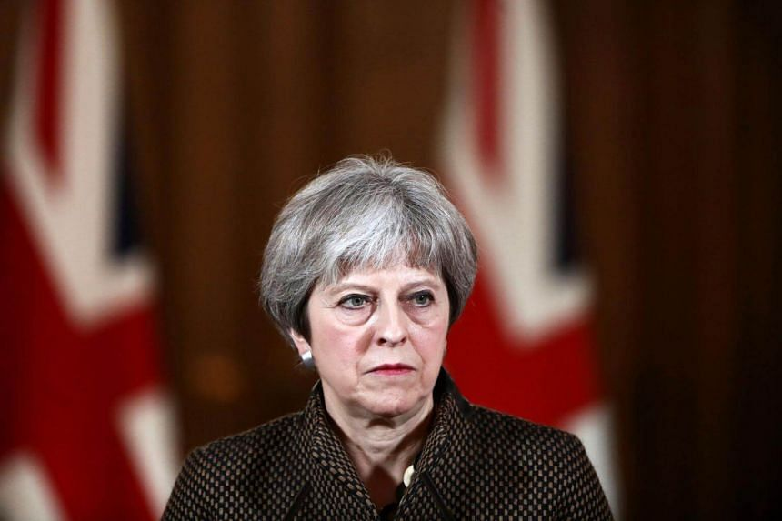 Britain's Prime Minister Theresa May giving a press conference on April 14, 2018, following British military action against Syria.