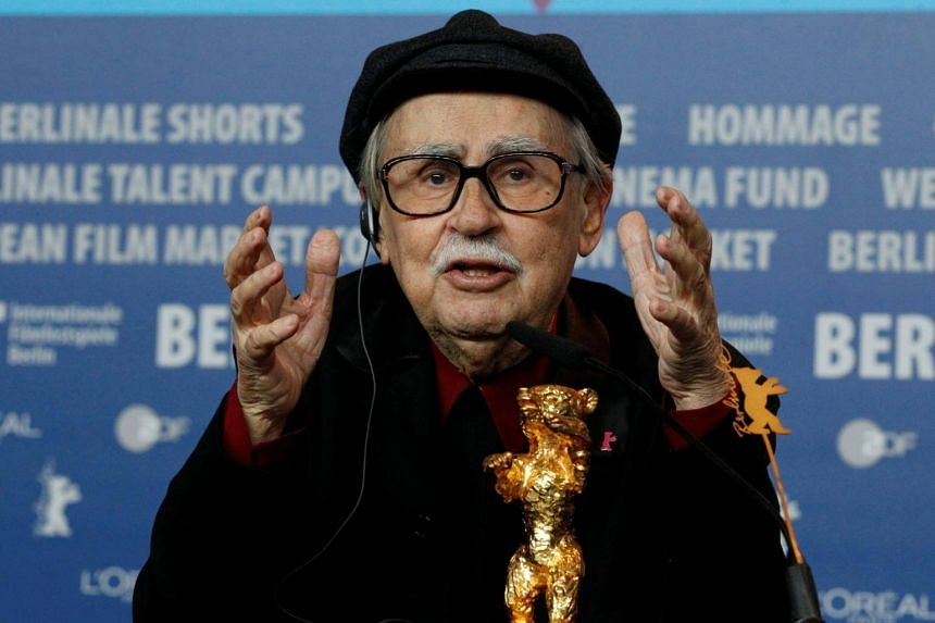 A file photo of director Vittorio Taviani gesturing during a news conference after the awards ceremony of the 62nd Berlinale International Film Festival in Berlin, on Feb 18, 2012.