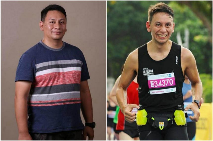 Eugene Ranada weighed 120kg at his heaviest (left) but now tips the scales at a healthy 75kg. He cycles about 150km a week and has improved his diet as well.