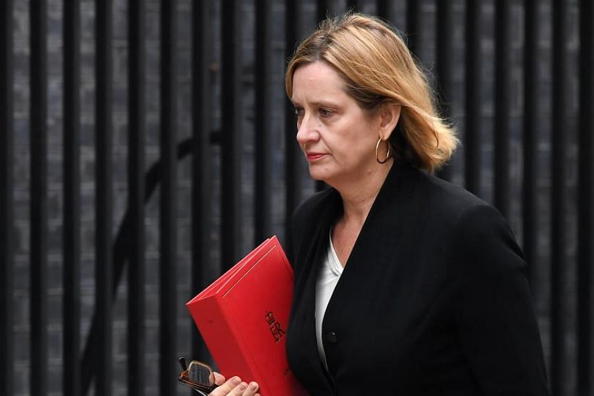 British Home Secretary Amber Rudd arrives at 10 Downing Street for a so called 'war cabinet' in London, Britain, on April 12, 2018.