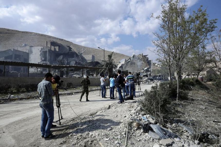 The Scientific Research Center building that was hit by the strikes that were launched on April 14, 2018 by the United States, Britain and France in Barzeh neighbourhood in Damascus, Syria, in retaliation for an alleged chemical attack.