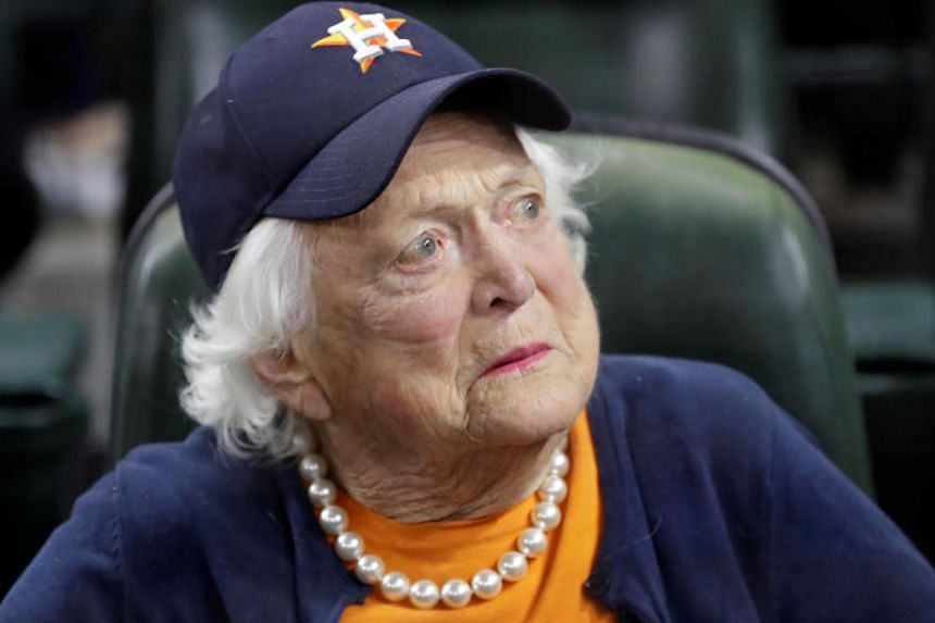 Barbara Bush appears before game five of the 2017 World Series between the Los Angeles Dodgers and the Houston Astros at Minute Maid Park, in Houston, Texas, US on Oct 29, 2017.