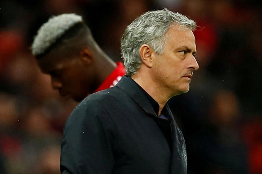 Manchester United manager Jose Mourinho as Paul Pogba is substituted in the match between Manchester United and West Bromwich Albion in Old Trafford, Manchester, Britain on April 15, 2018.
