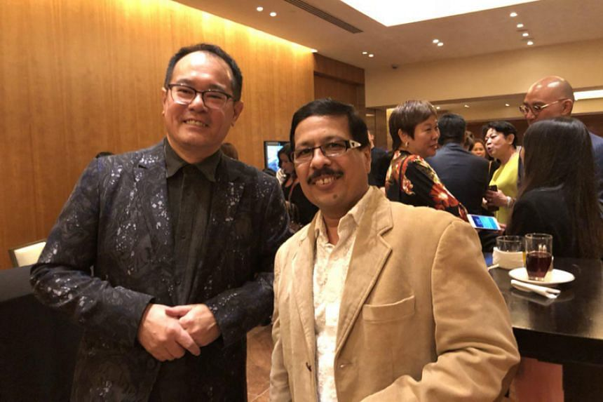 TungLok Group founder Andrew Tjioe and Rang Mahal chef Milind Sovani at the Best Asian Restaurants Awards ceremony held at the Grand Hyatt Singapore on April 16, 2018.
