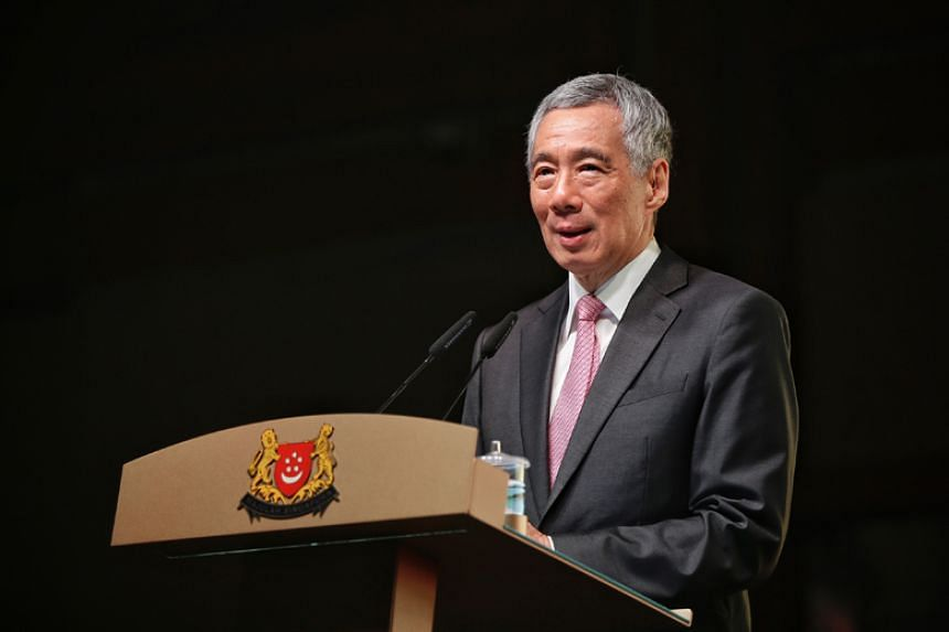 Prime Minister Lee Hsien Loong speaking at the Chin Kang Huay Kuan 100th Anniversary Celebration Dinner at Raffles City Convention Centre on April 1, 2018.