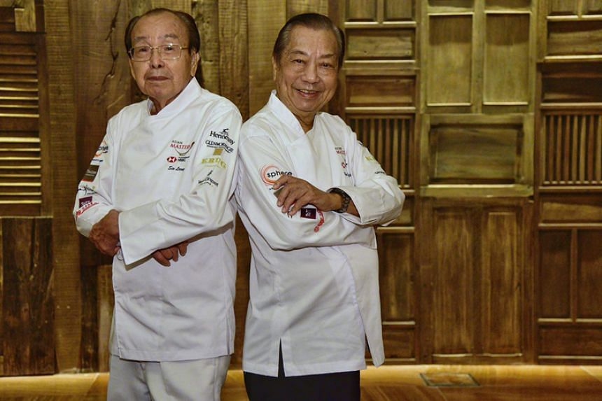 Red Star Restaurant founders and master chefs Sin Leong (left) and Hooi Kok Wai (right) received the Special Recognition award at The Straits Times and Lianhe Zaobao's Best Asian Restaurants Awards.