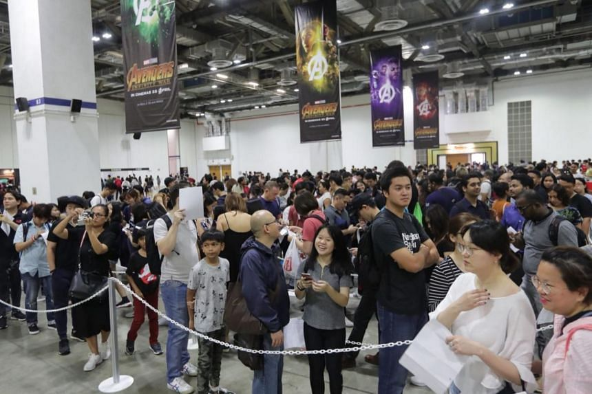 Snaking queue formed at the Marina Bay Sands by eager fans wanting register for the Avengers: Infinity War red carpet event.