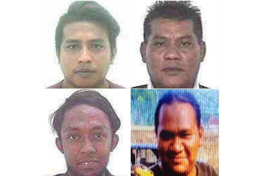 Clockwise from top left: The suspects listed were named as Muhamad Faizal Muhamad Hanafi, Muhamad Hanafi Yah, both of whom are from Kelantan state, Awae Wae-Eya, a Thai national living in southern Thailand and Nor Farkhan Mohd Isa, whose address was