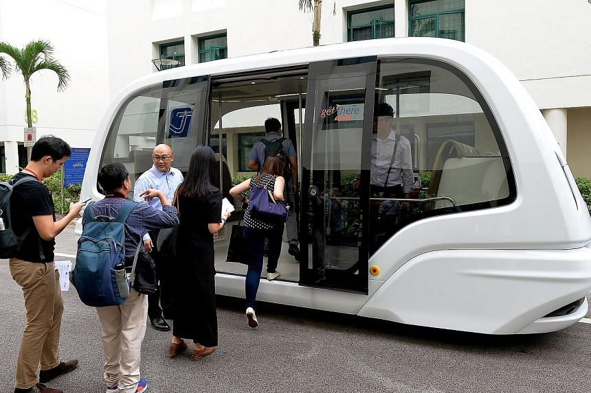 The driverless vehicle can travel at speeds of up to 40kmh and is able to take 24 people at a time.