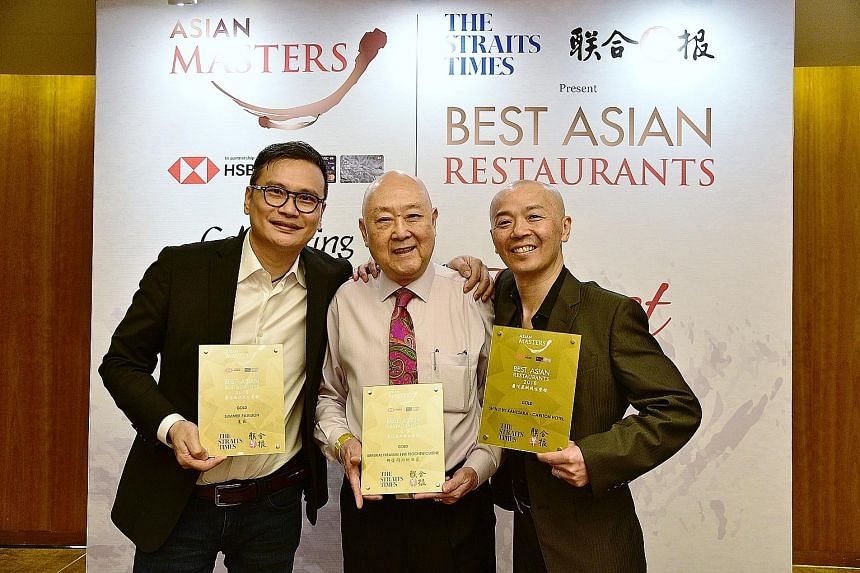 From left: Summer Pavilion's Chinese executive chef Cheung Siu Kong, 49, Imperial Treasure Fine Teochew Cuisine's group operation manager Jimmy Leung, 75, and Shinji by Kanesaka's master chef Koichiro Oshino, 48, who was named Chef of the Year, at th