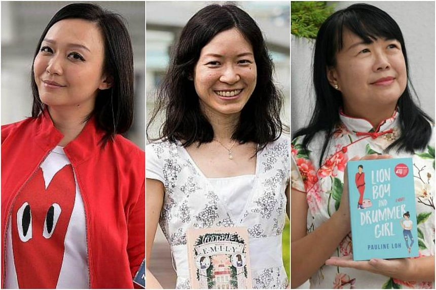 Former illusionist Ning Cai (left) , public servant Low Ying Ping (centre) and former journalist Pauline Loh have published young adult fiction.