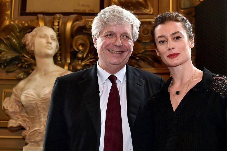 Paris Opera's director Stephane Lissner (left) poses dance director Aurelie Dupont during a press conference at the Palais Garnier theatre in Paris.