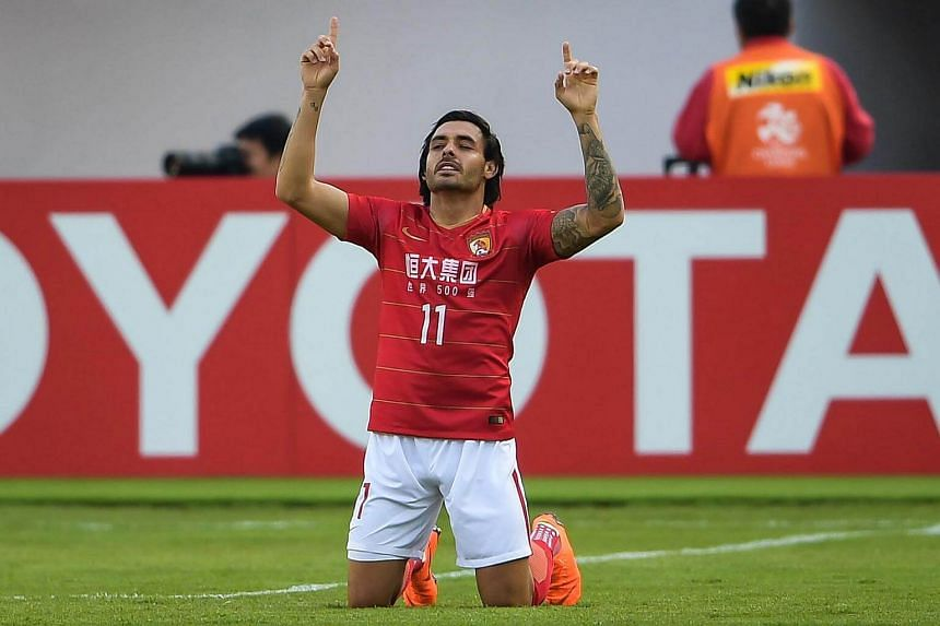 Ricardo Goulart of Guangzhou Evergrande reacts during their AFC Champions League group stage football match against Buriram United in Guangzhou, on Feb 14, 2018.