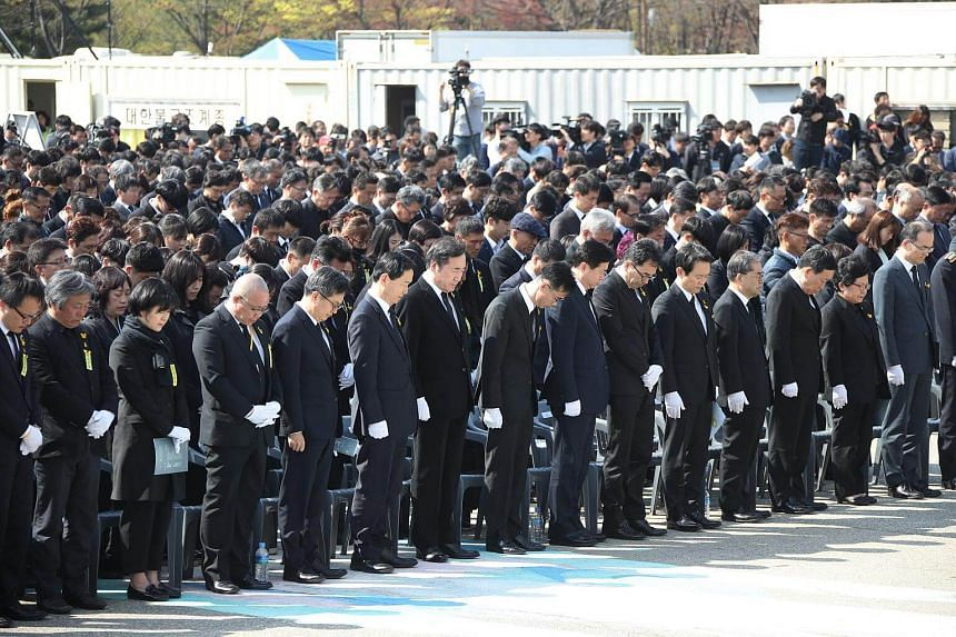 A memorial service for victims of the 2014 Sewol ferry disaster was held at a park in Ansan, South Korea, on April 16, 2018.