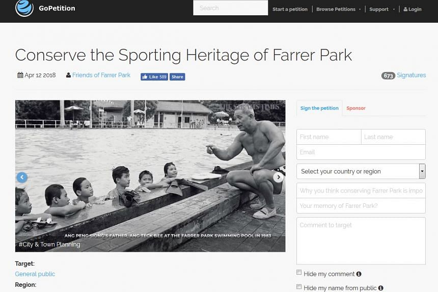 "Created by a group of individuals who call themselves ""Friends of Farrer Park"", the petition calls for ""the authorities to find ways to integrate this heritage with the future development""."