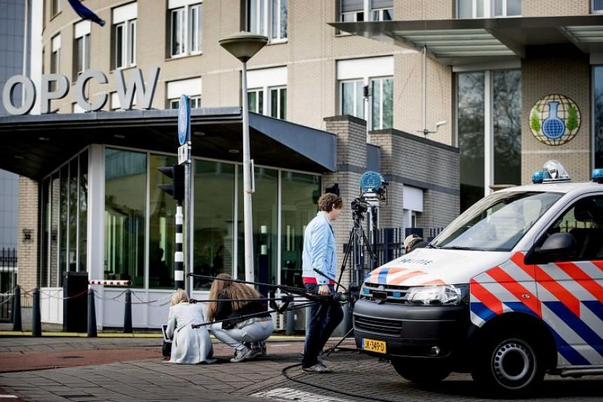 An exterior view of the headquarters of the Organisation for the Prohibition of Chemical Weapons (OPCW) in The Hague, The Netherlands, on April 16, 2018.