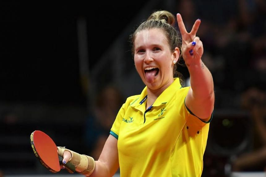 Australia's Melissa Tapper celebrates her victory in the women's TT6-10 singles gold medal final table tennis match at the 2018 Gold Coast Commonwealth Games at the Oxenford Studios venue in Gold Coast on April 14, 2018.
