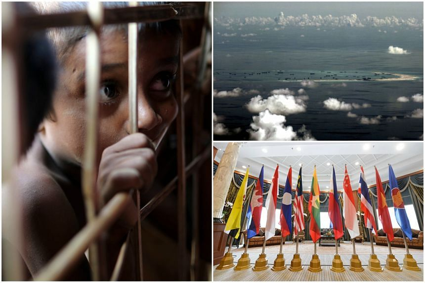 (Clockwise, from left) The Rohingya refugee crisis, disputes in the South China Sea and worries over foreign power influence are the three issues that could disrupt Asean unity.