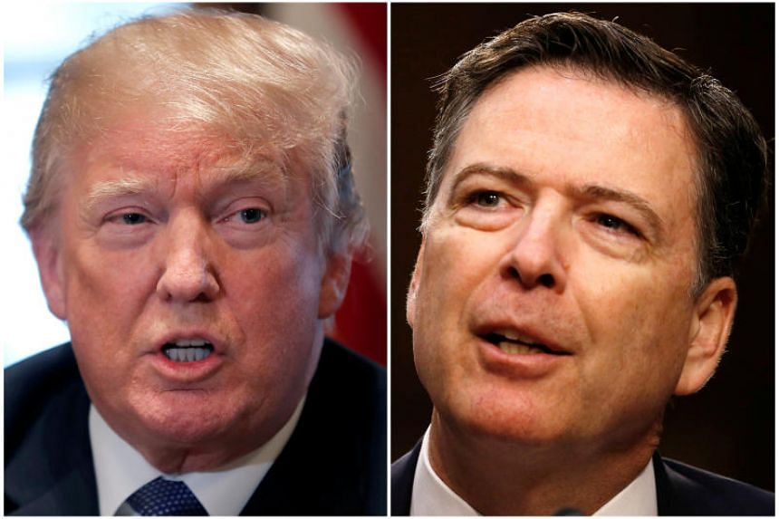US President Donald Trump in the White House in Washington, DC, US on April 9, 2018 and former FBI Director James Comey on Capitol Hill in Washington, US on June 8, 2017.