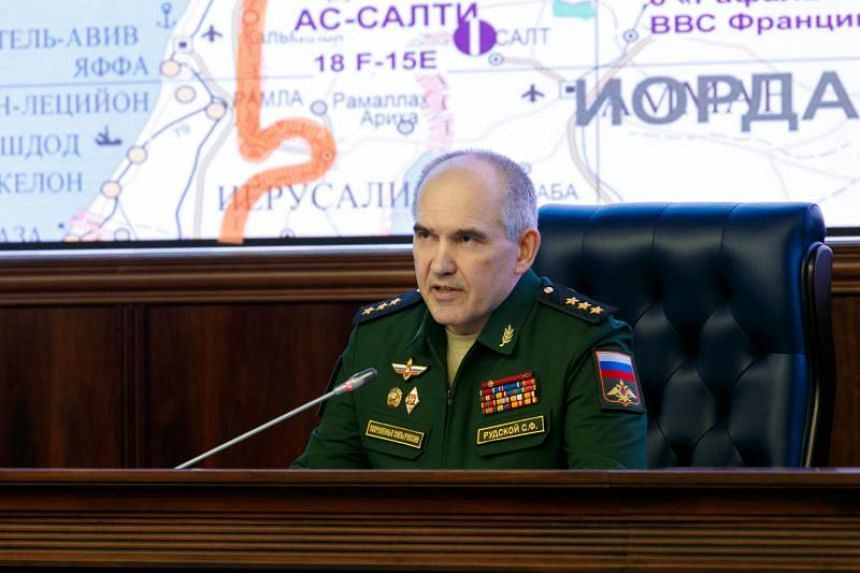 Chief of the Main Operational Directorate of the General Staff of the Russian Armed Forces, Lieut. Gen. Sergei Rudskoy addressing the media during a briefing on the situation in Syria at the Russian National Defense Management Center in Moscow, Russi