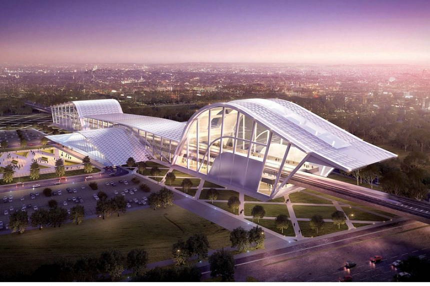 An artist's impression of Batu Pahat station along the future Kuala-Lumpur-Singapore high-speed rail.