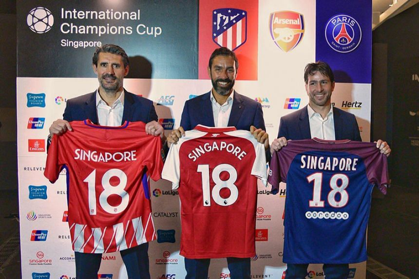 Former football players (from left) Jose Luis Caminero (Atletico Madrid), Robert Pires (Arsenal) and Maxwell (Paris Saint-Germain) at a press conference at Marina Bay Sands' ArtScience Museum on April 17, 2018.