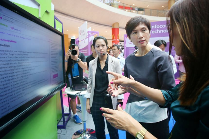 Second Manpower Minister Josephine Teo at the launch of national jobs portal MyCareersFuture.sg on April 17, 2018.