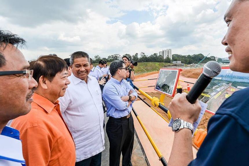 Transport Minister Khaw Boon Wan visiting the site of the future RTS Link and Thomson-East Coast Line (TEL) stations at Woodlands North.