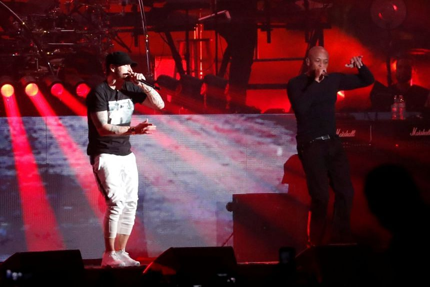 Eminem and Dr. Dre perform at the Coachella Valley Music and Arts Festival in Indio, California, on April 15, 2018.