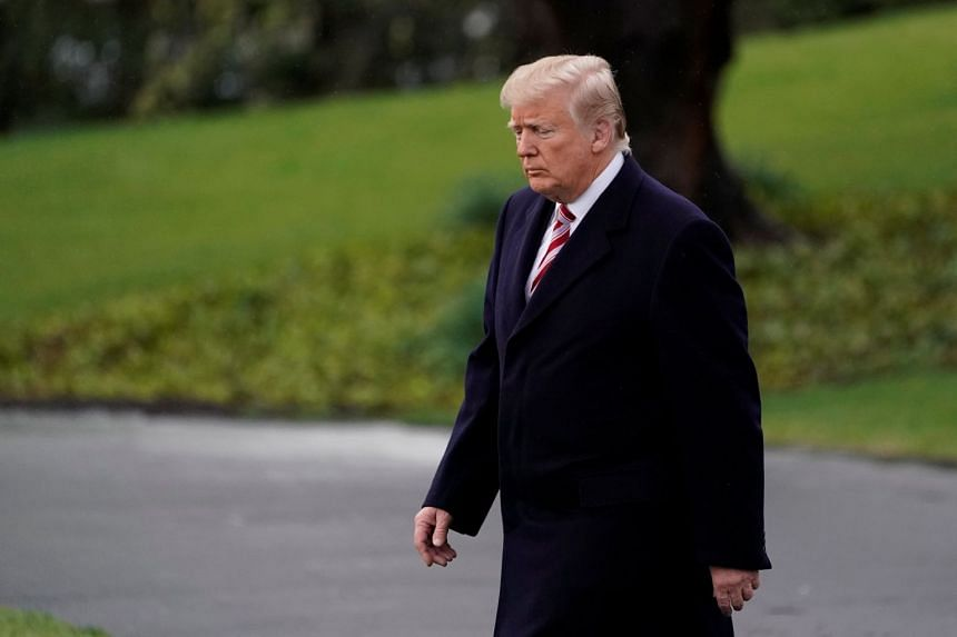 US President Donald Trump departing the White House for a trip to Miami, Florida, in Washington DC, on April 16, 2018.