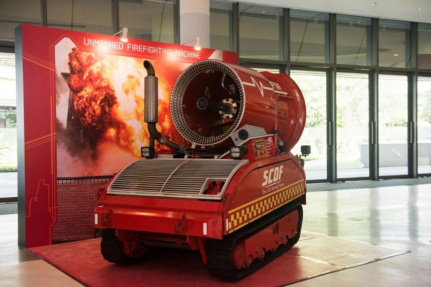 The Unmanned Firefighting Machine that was also unveiled at SCDF's annual workplan seminar.