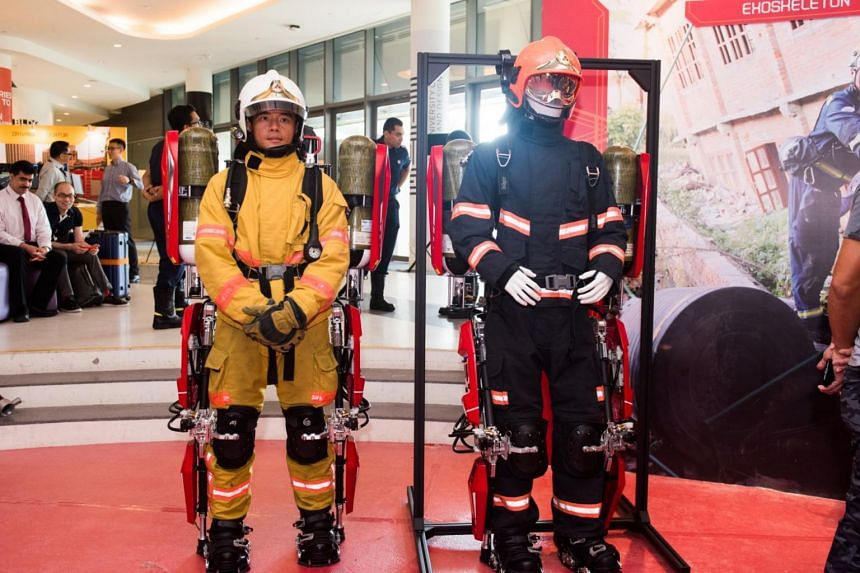 An exoskeleton suit that was unveiled by the SCDF.