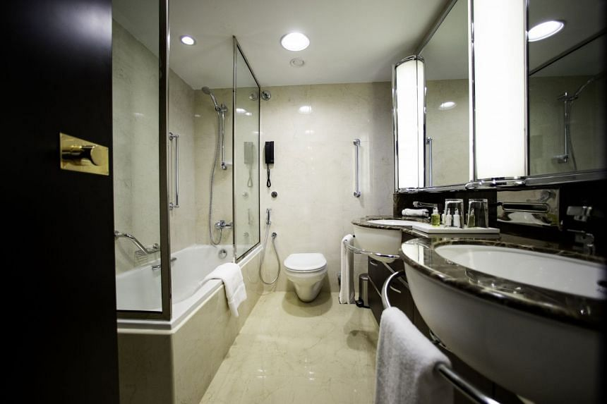The bathroom of the Duplex Suite prepares to welcome guests aboard the Queen Elizabeth II.