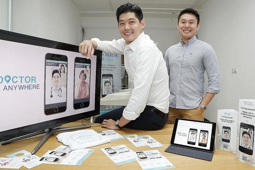 Mr Lim Wai Mun (far left), CEO and founder of telehealth start-up Doctor Anywhere, and co-founder Jeffrey Fang decided to become entrepreneurs after seeing a gap in the accessibility of healthcare. Both used to work at Temasek Holdings.